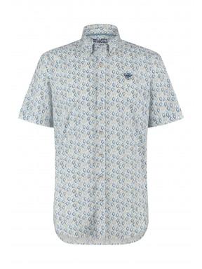 Stretch-overhemd-van-katoen---grijsblauw/zand