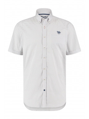 Korte-mouw-overhemd-met-print---koraal/kobalt