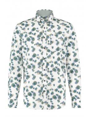 Regular-fit-overhemd-met-print---donkergroen/kobalt