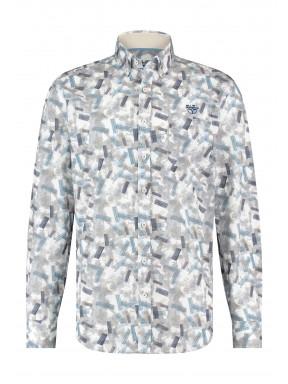 Overhemd-met-borstzak---grijsblauw/zand