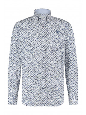 Katoenen-overhemd-met-stretch---donkerblauw/kobalt