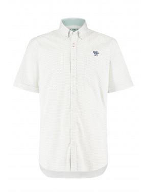 Bedrukt-overhemd-met-borstzak---goudgeel/lichtgroen