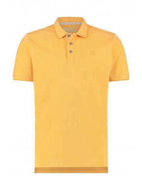 Polo-met-borstlogo---jaune-d'or-uni