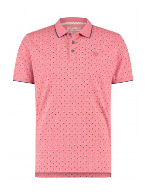 Polo-met-all-over-print---corail/cobalt