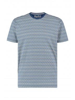 Regular-fit-T-shirt-met-ronde-hals---kobalt/goudgeel