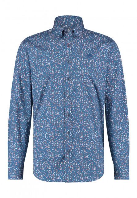 Overhemd-met-merklogo---kobalt/koraal
