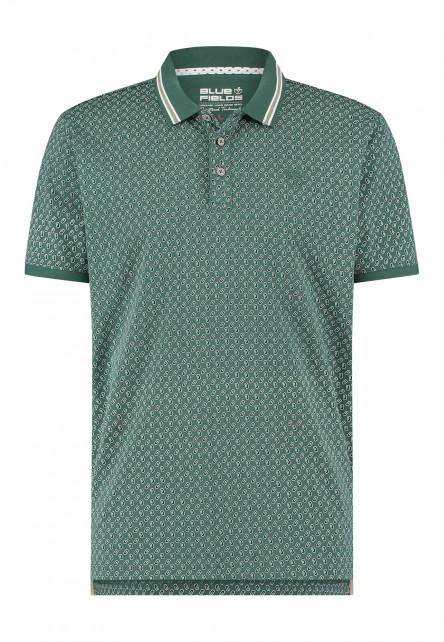 Polo-met-regular-fit---vert-foncé/blue-foncé