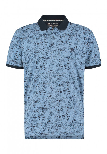 Polo-met-bloemenprint---gris-bleu/blue-foncé