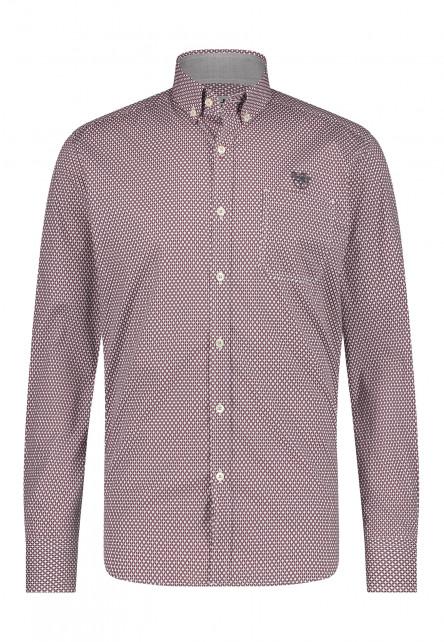 Regular-fit-overhemd-van-100%-katoen---wijnrood/donkerantracit