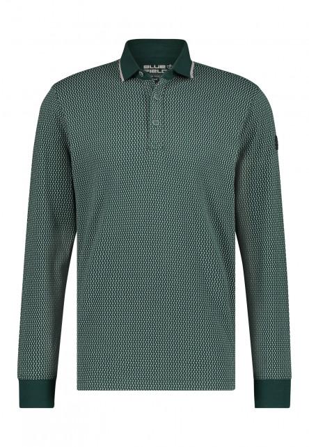 Polo-Jersey-manches-longues-imprimé---vert-foncé/gris-argenté