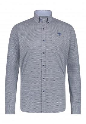 Poplin-overhemd-met-een-all-over-print---donkerblauw/kobalt