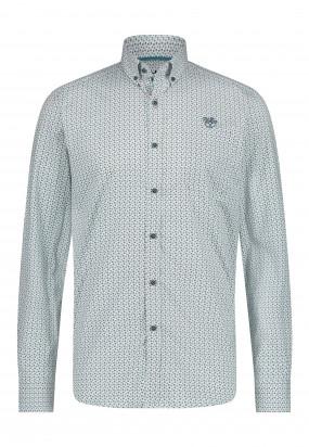 Stretch-overhemd-met-regular-fit---lichtgroen/donkerblauw