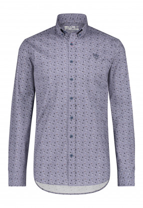 Overhemd-met-een-all-over-print---kobalt/cognac