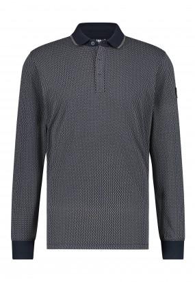 Polo-met-print-en-regular-fit---donkerblauw/zilvergrijs