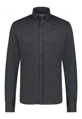 Katoenen-overhemd-met-button-down---donkerantraciet-uni