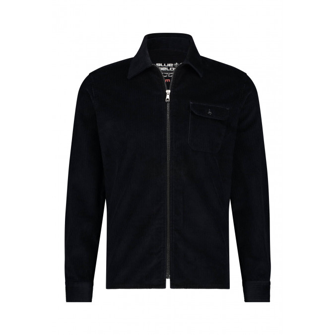 Corduroy-overhemd-met-borstzak---donkerblauw-uni