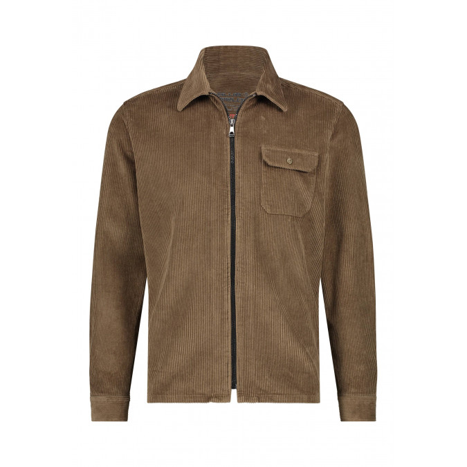 Corduroy-overhemd-met-borstzak---sepia-uni